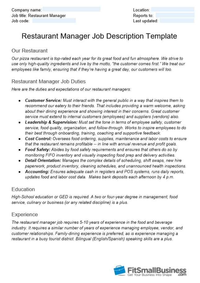 example of a restaurant manager job description template