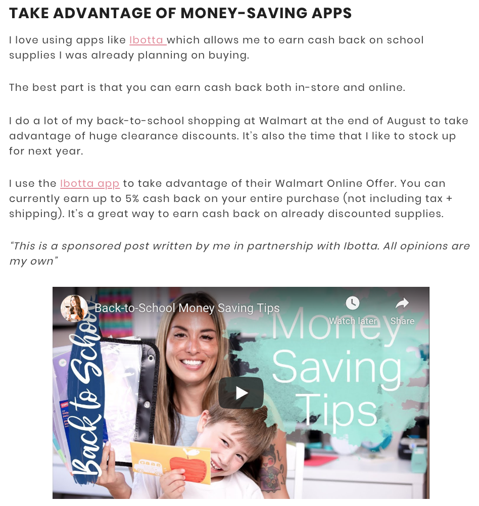 The Budget Mom blog post