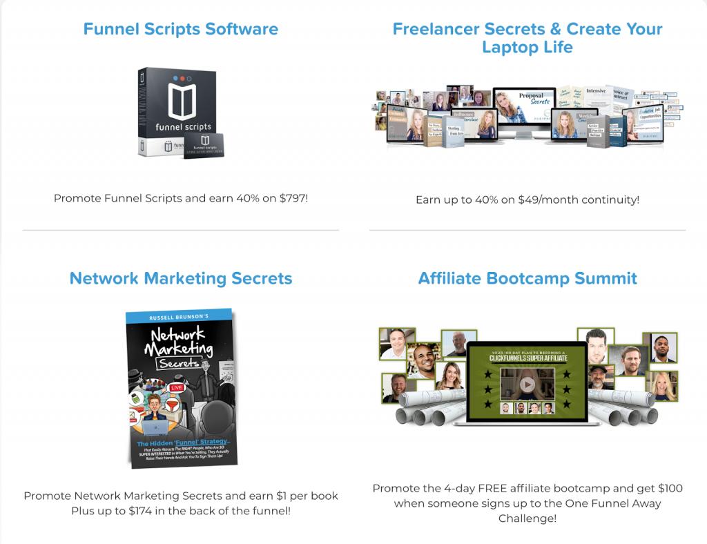 Mockup of affiliate program brands from ClickFunnels