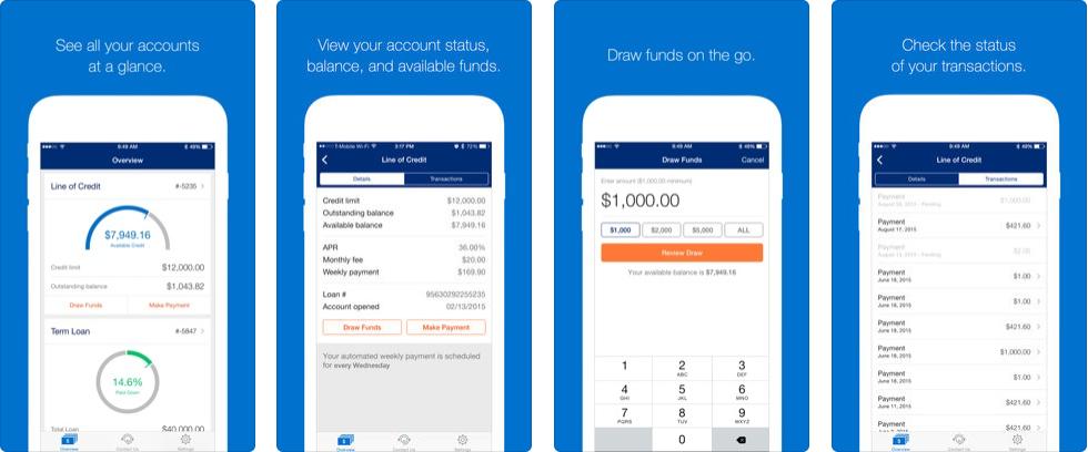Mockup of OnDeck mobile app setup stages on iPhones