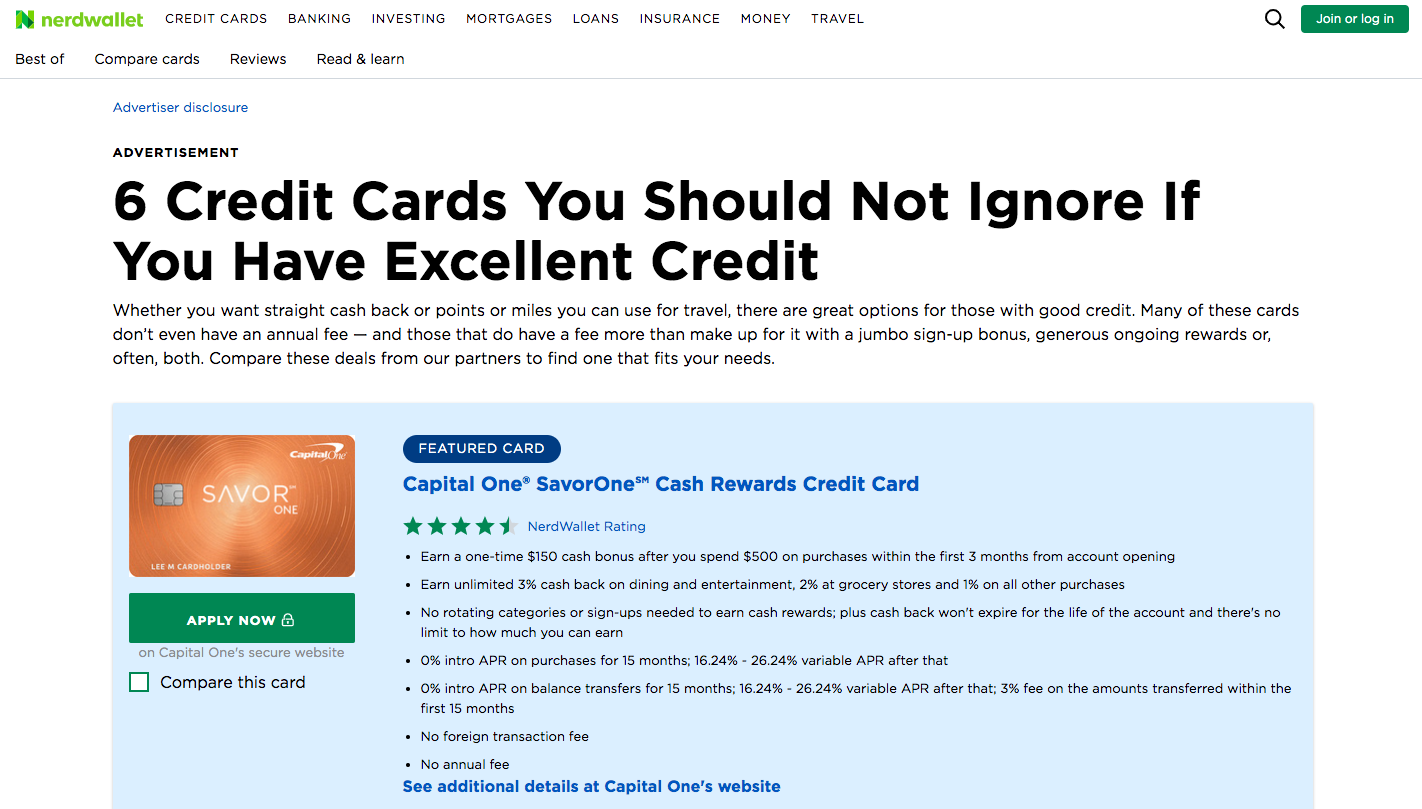 6 Credit Cards You Should Not Ignore If You Have Excellent Credit by CapitalOne and NerdWallet