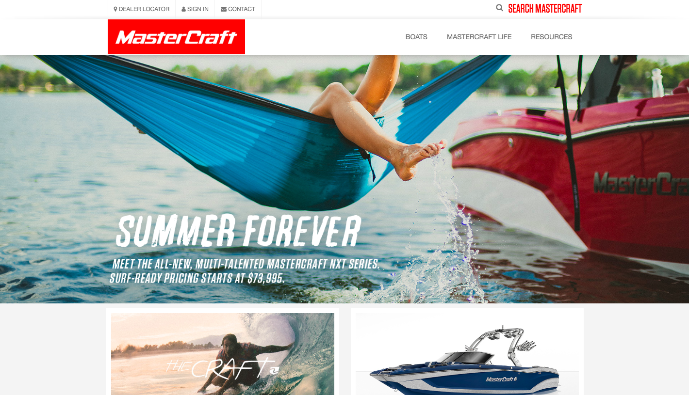 MasterCraft website home page
