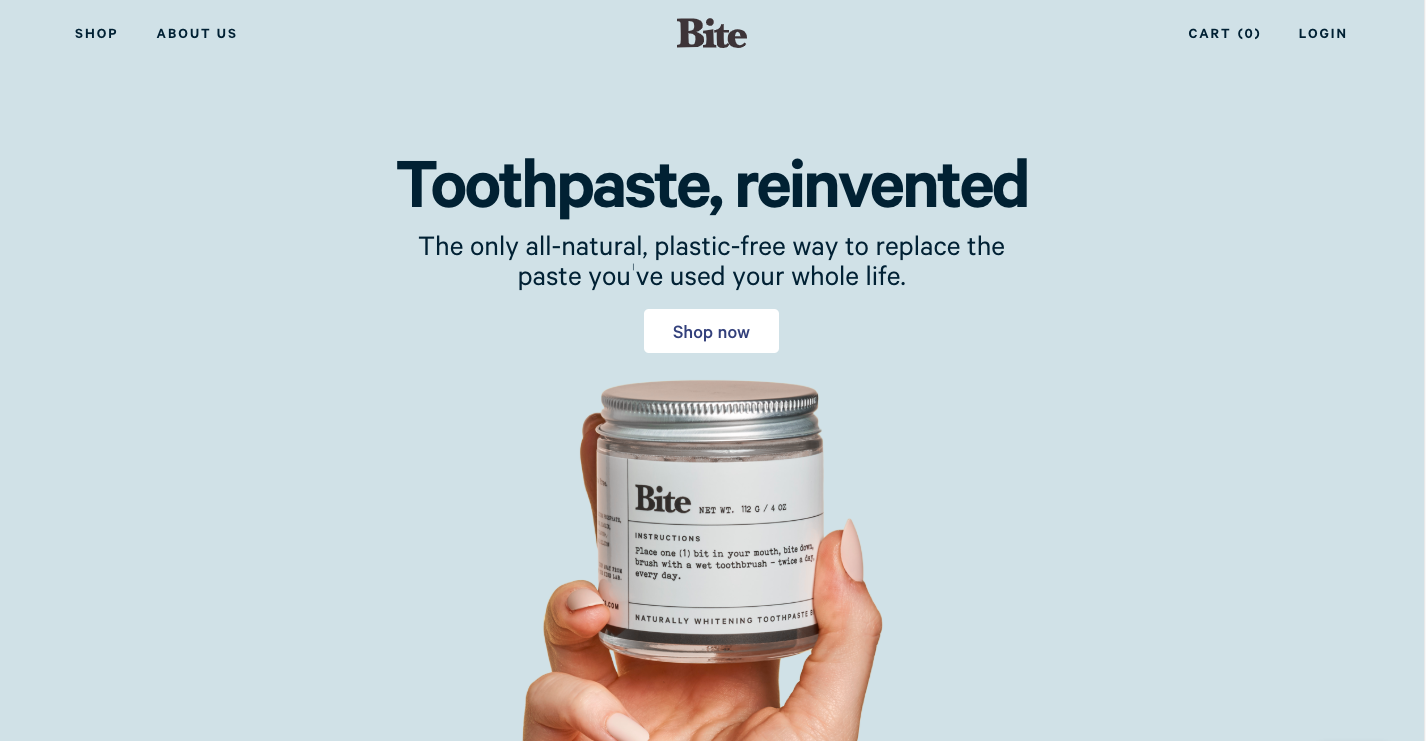 Bite toothpaste website home page