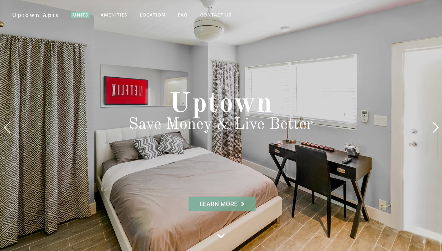 Uptown Apts website home page