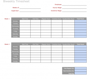 Free biweekly timesheet template