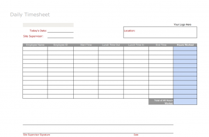 Free daily timesheet template