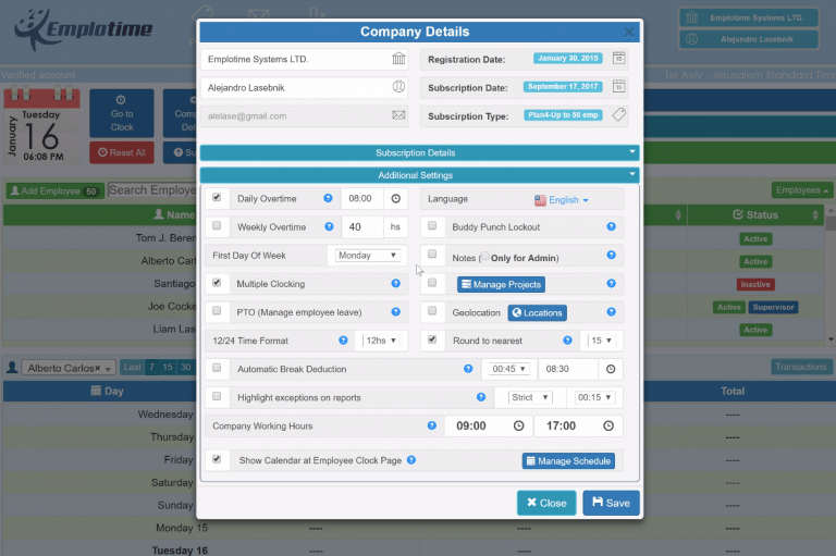 Emplotime company details - employee time clock