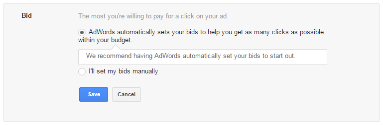 inputting a keyword bid on google ads