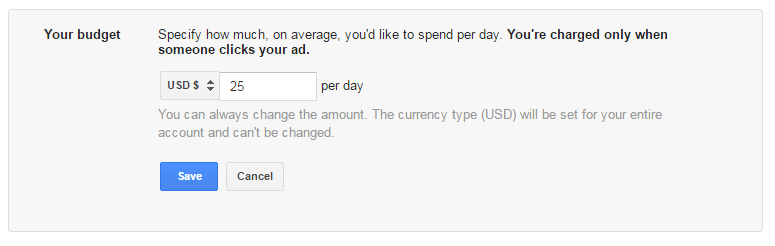 an example of setting Google Ads daily budget