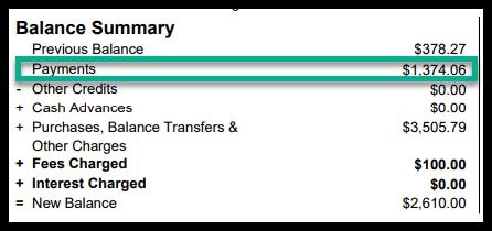 screenshot of a sample balance summary