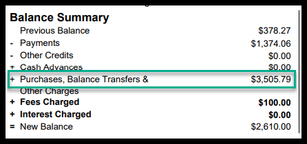 screenshot of a sample credit card statement of payments made