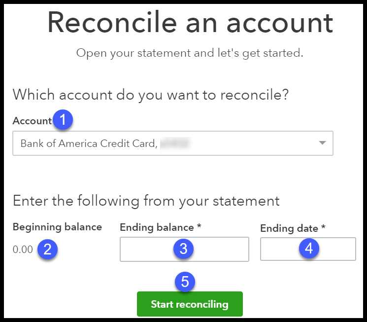 Screenshot of how to Reconcile an account in QuickBooks Online
