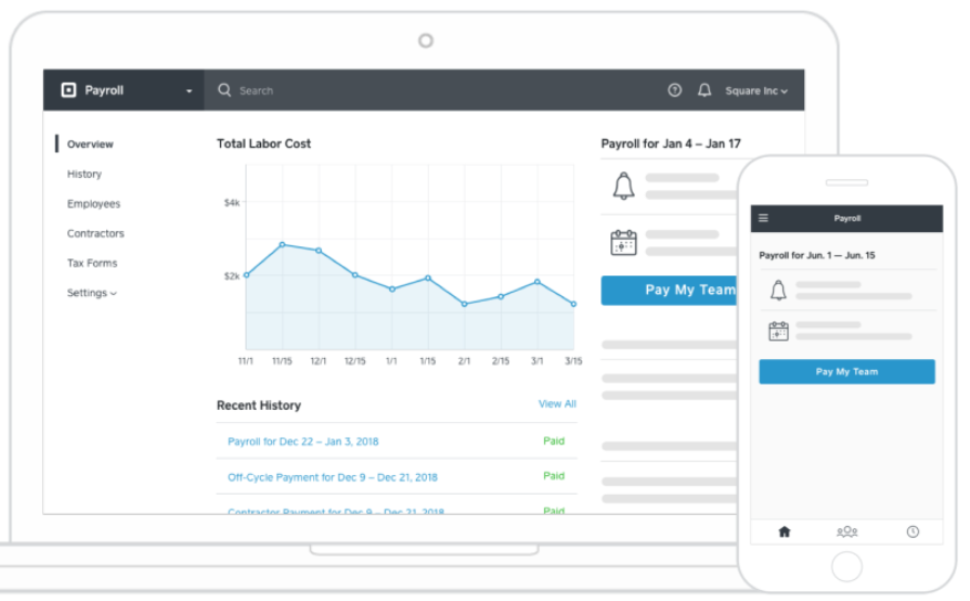 Mockup of Square payroll dashboard on different devices