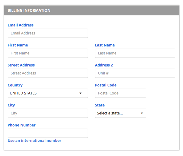 Bluehost domain owner billing information page