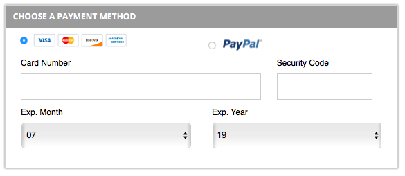 Bluehost domain payment method page