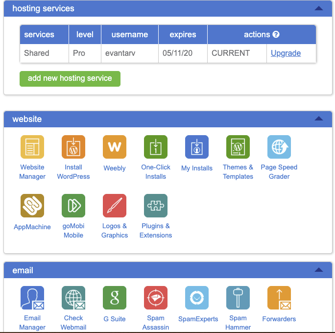 Bluehost cPanel dashboard