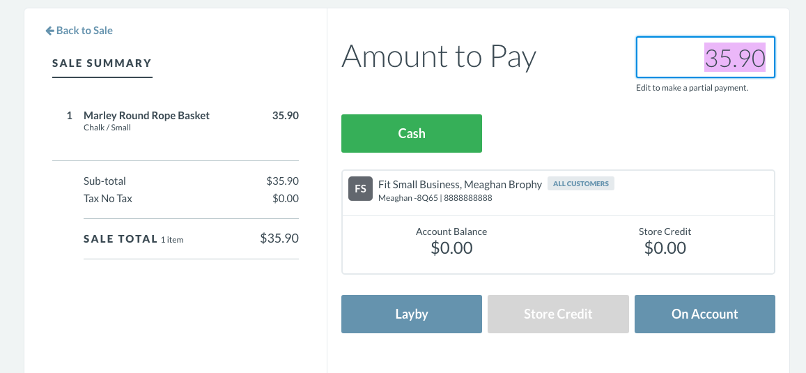 Vend Layby and Store Credit feature page