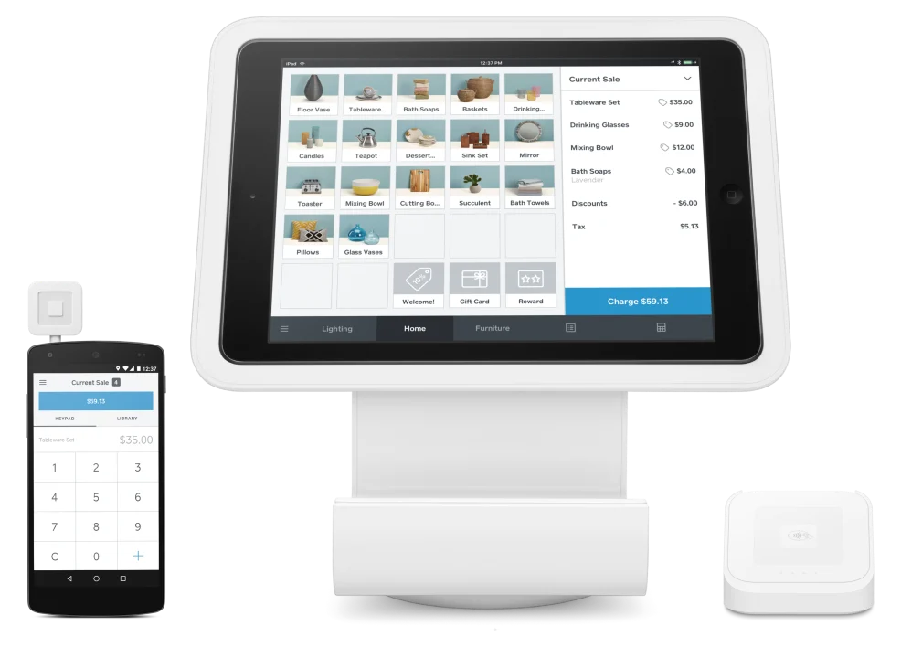 Markup of Square POS app on different devices