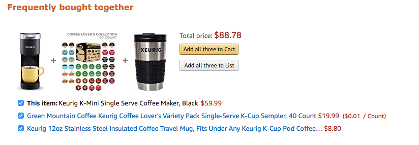 Amazon displaying complementary items