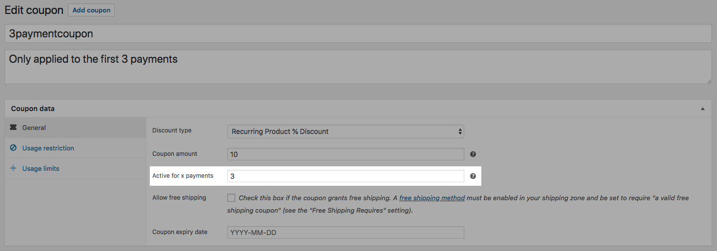 how to discount payments for a limited period in woocommerce