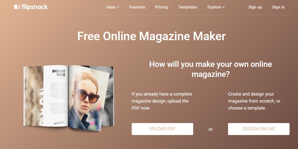 flipsnack free online magazine makerlanding page