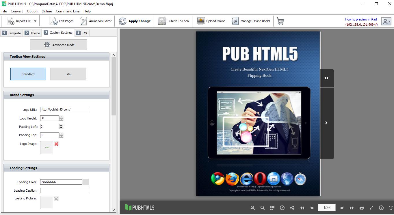 pub html5 editor interface