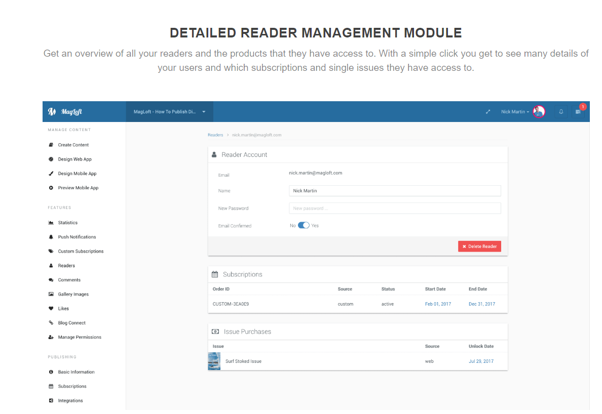 magloft reader management dashboard