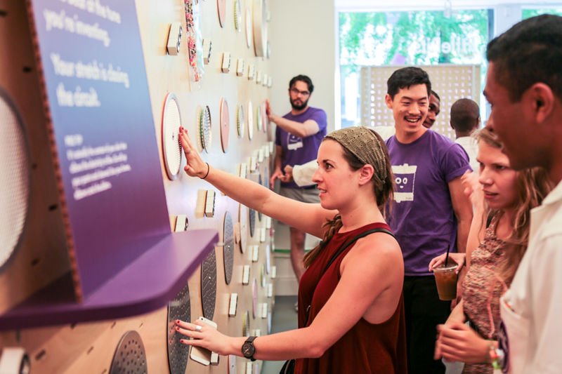 Customers interacting with electronic product design at the LittleBits pop-up store