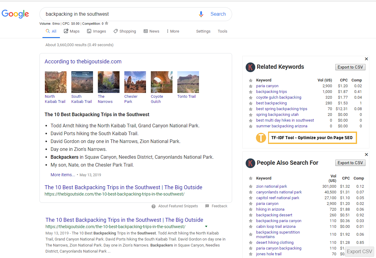 screenshot of google's results page