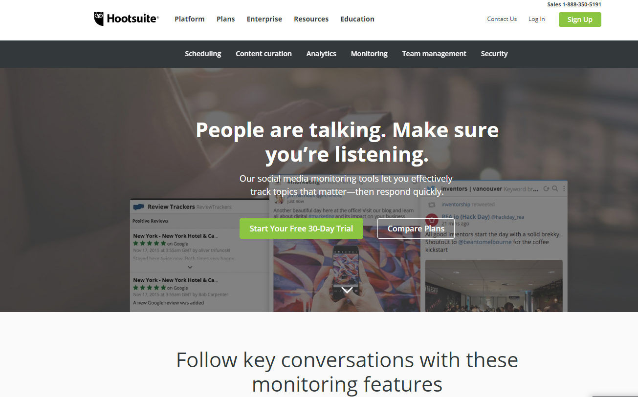 screenshot of hootsuite's website