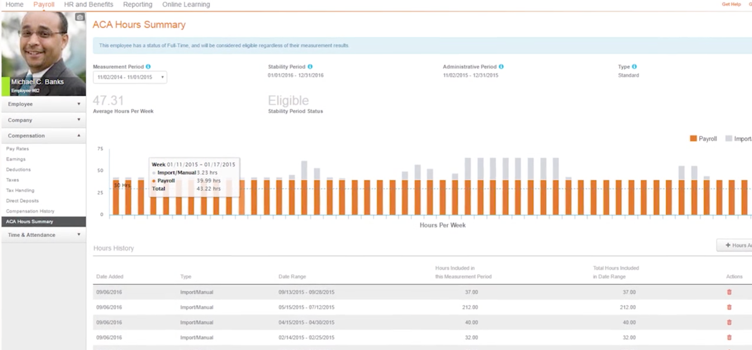 Screenshot of Paycor's data visualization tools