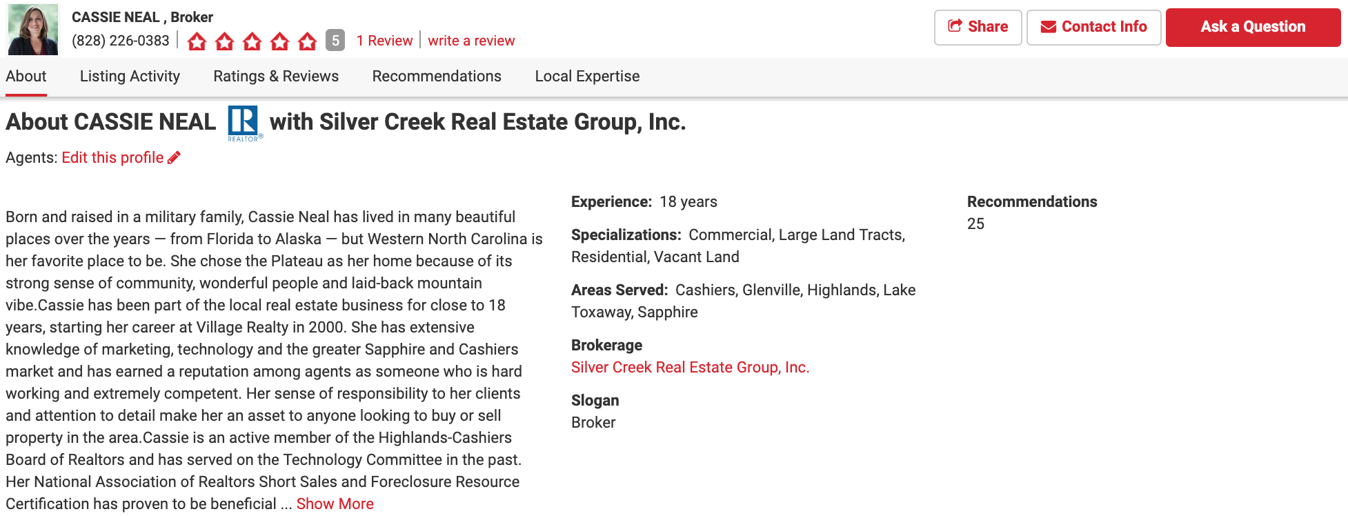 screenshot of a realtor.com agent's bio