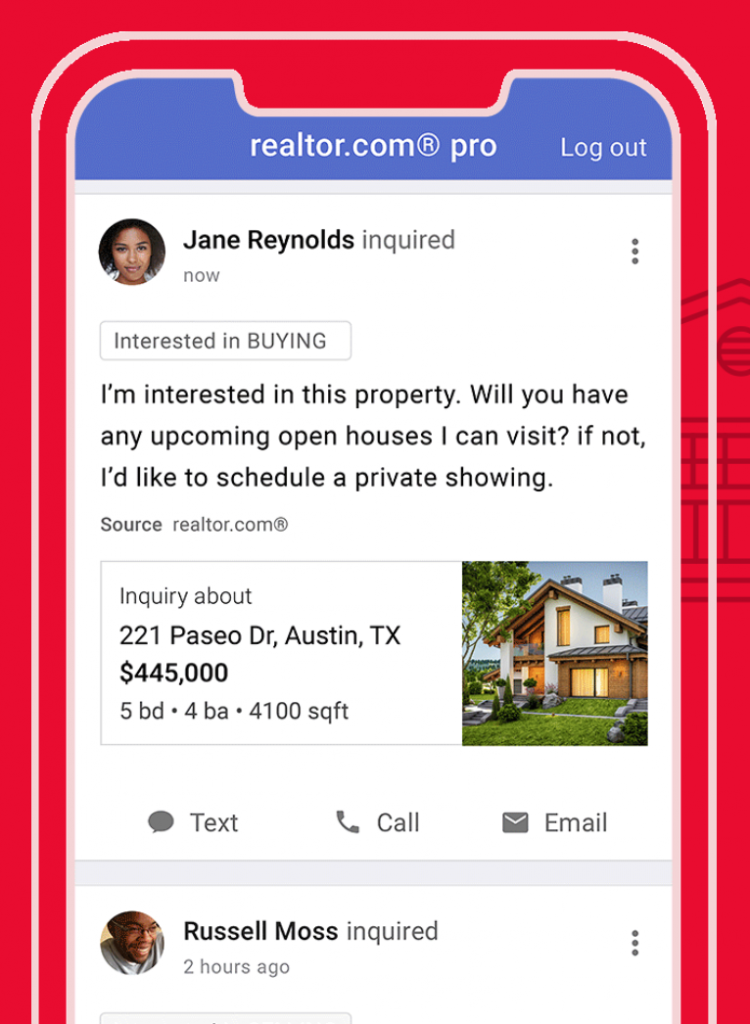 screenshot of the realtor.com pro app