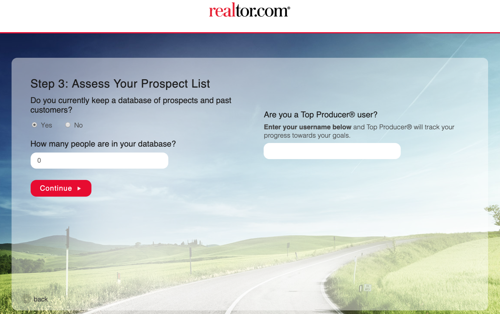 screenshot of the third step of realtor.com's ultimate business plan