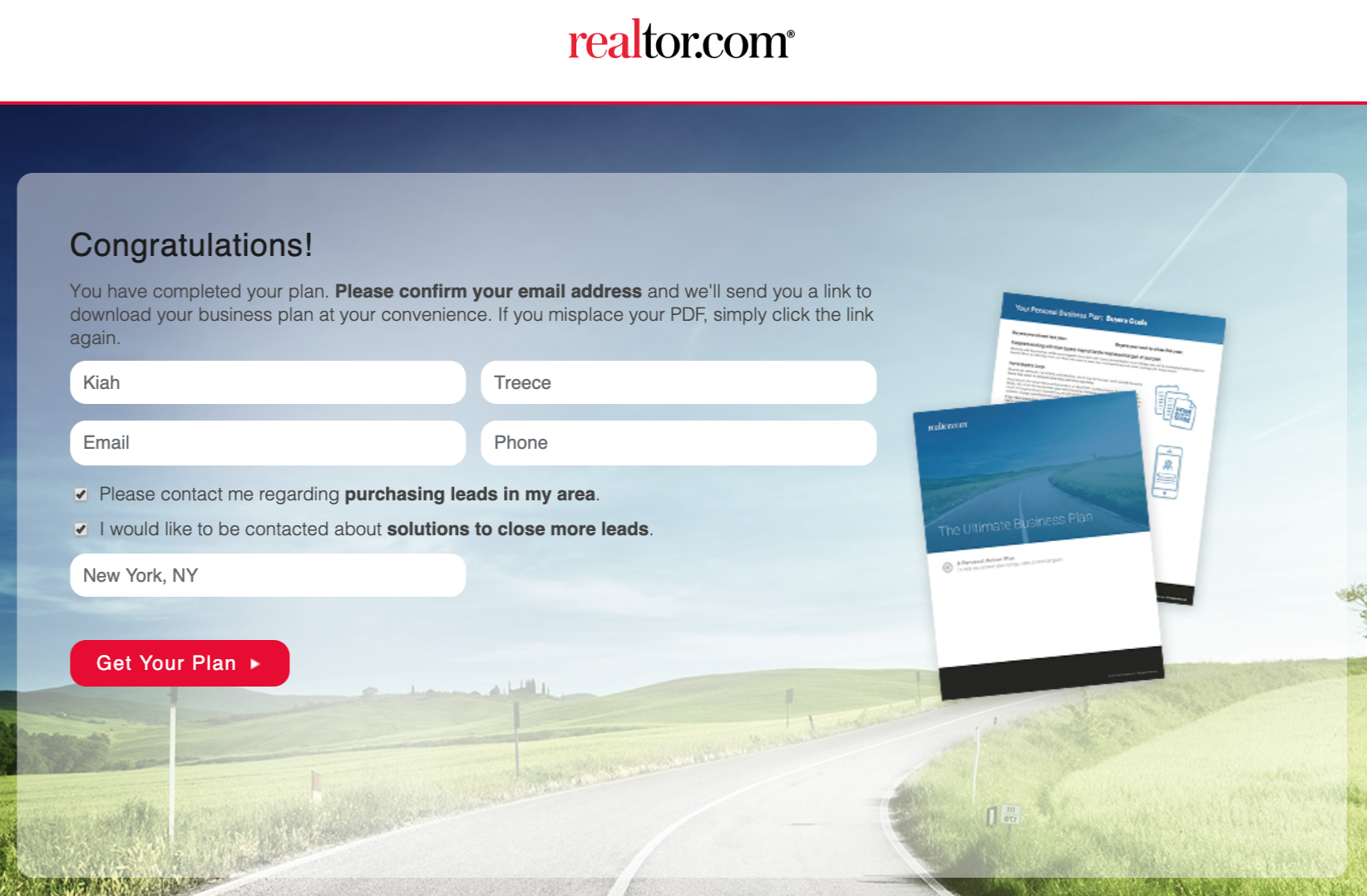 screenshot of the confirmation page of realtor.com's ultimate business plan