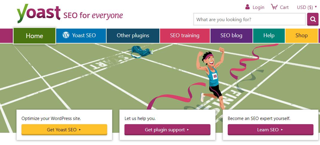 Yoast SEO WordPress plugin home page