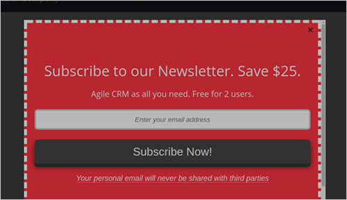 Agile CRM Website Pop-up - ecommerce crm