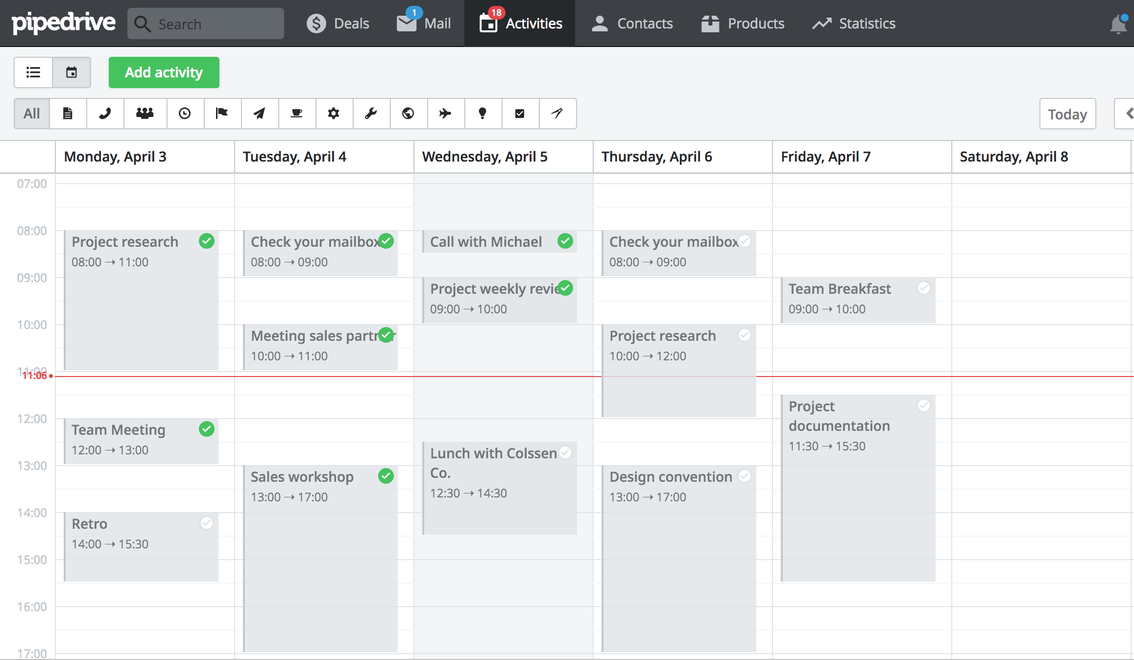 Scheduled activities in calendar view in pipedrive