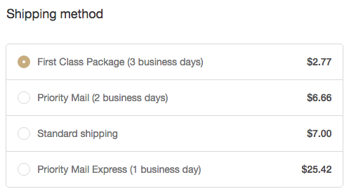 Example of a Shopify shipping options page