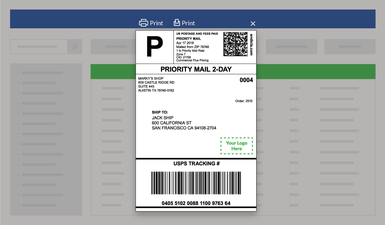 Example of a shipping label created with the ShippingEasy plugin