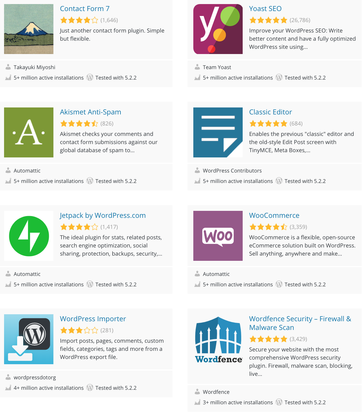 Examples of plugins available for WordPress