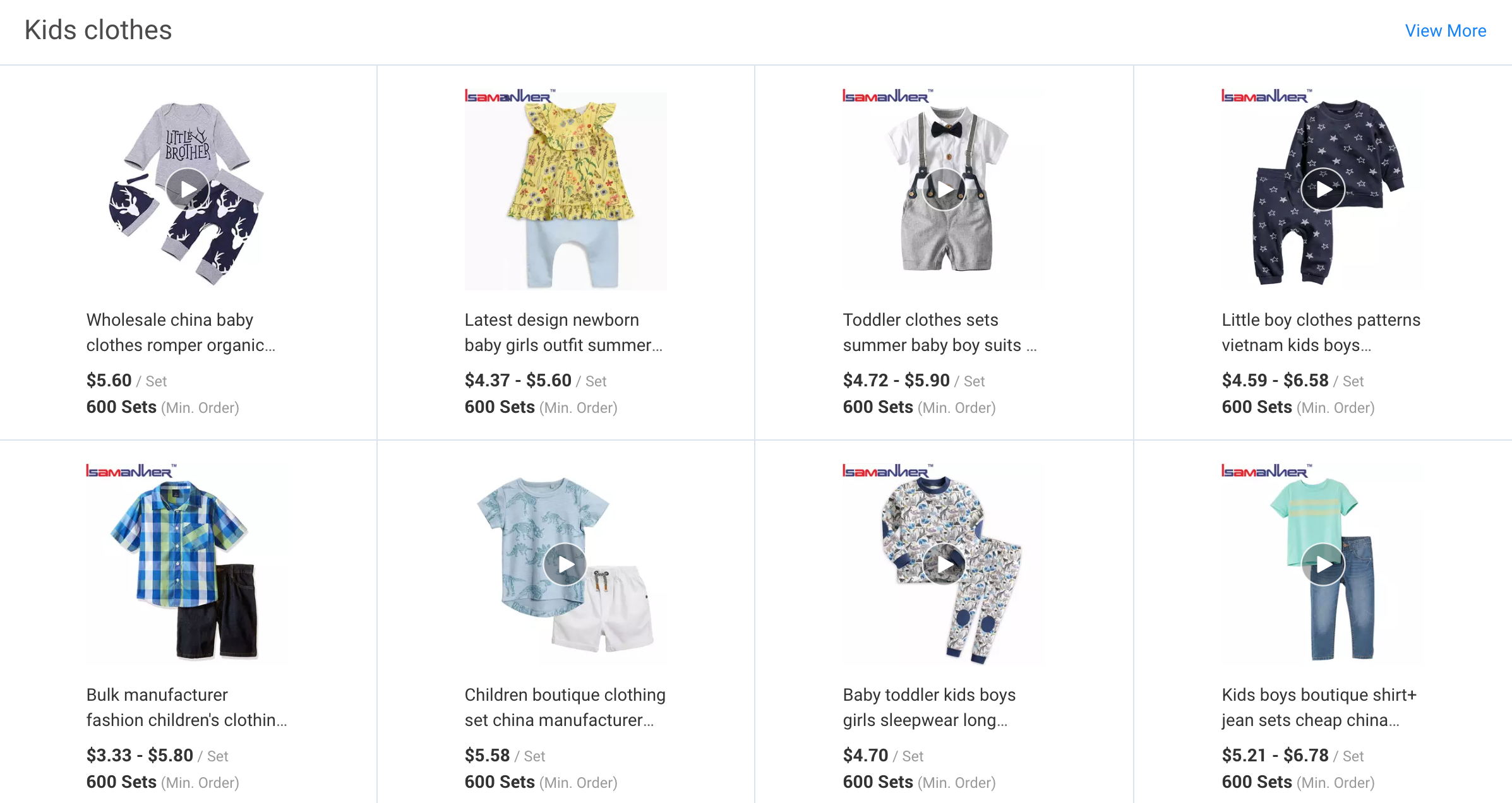 Example of Kids Clothes category page on Alibaba