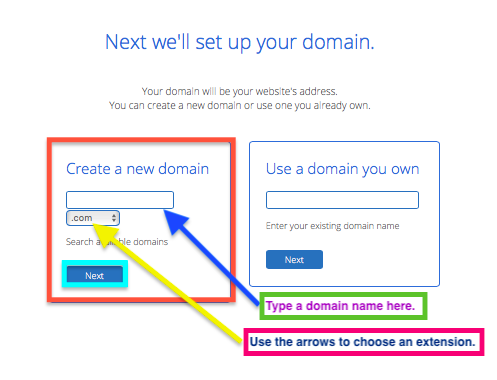 Bluehost domain search feature