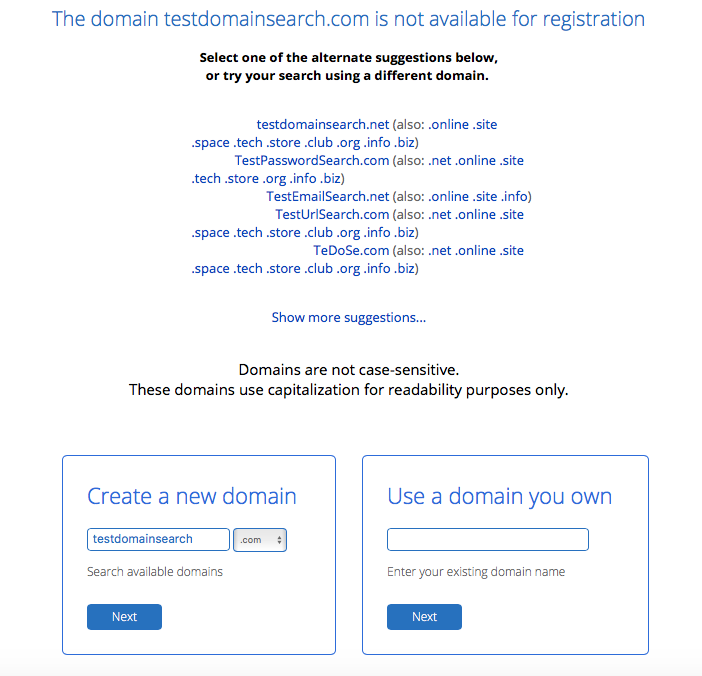 Bluehost domain selection page