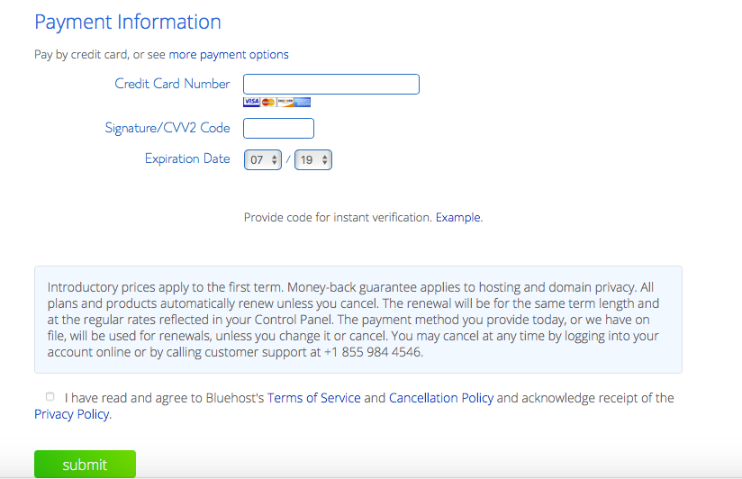 Bluehost Payment Information and Terms of Agreement page