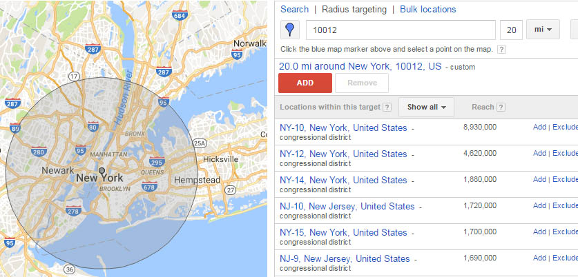 an example of radius tracking with google ads
