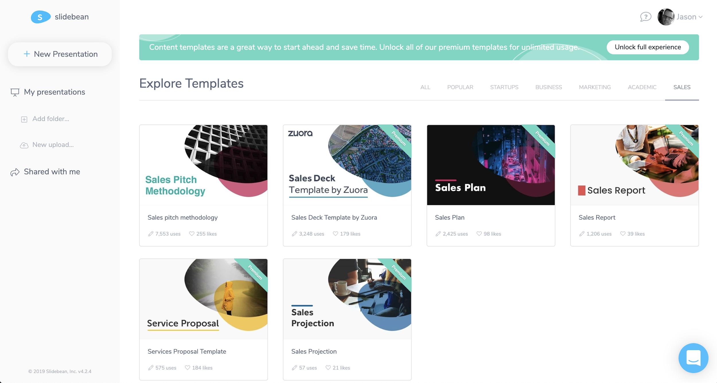 Slidebean templates