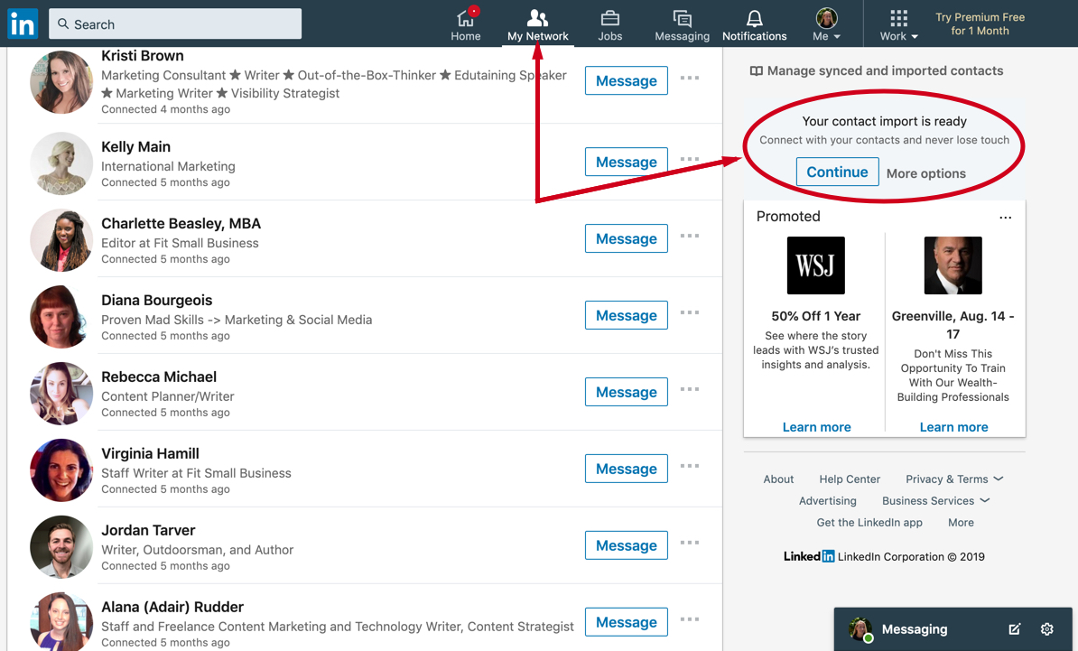 Screenshot of LinkedIn contact import option