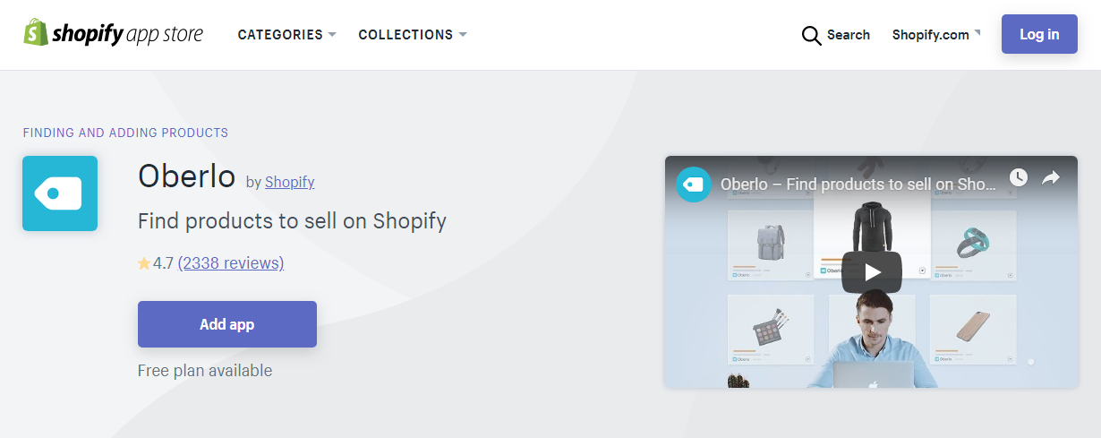 oberlo's app store page on shopify