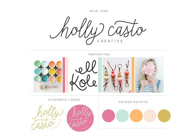 an example of a brand board from holly casto creative